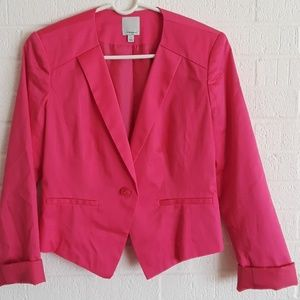 Halogen Pink one Button cotton blazer